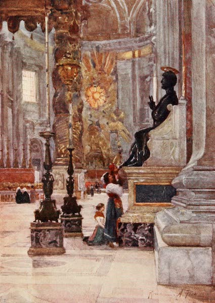 Rome, Painted and Described - Interior of S. Peter's, the Bronze Statue of S. Peter (1905)