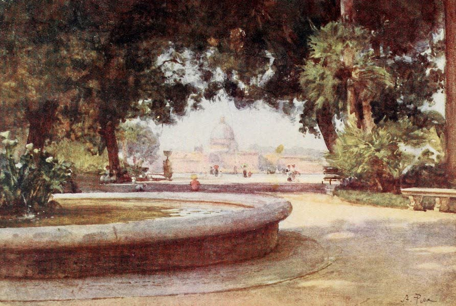 Rome, Painted and Described - S. Peter's from the Pincian Gardens (1905)