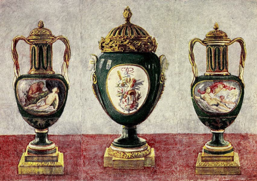 Royal Sèvres China - Three Apple-Green Vases with Ormolu (1909)