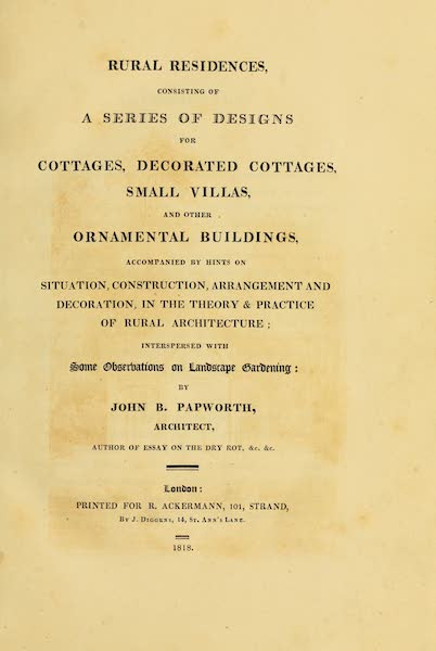 Rural Residences - Title Page (1818)