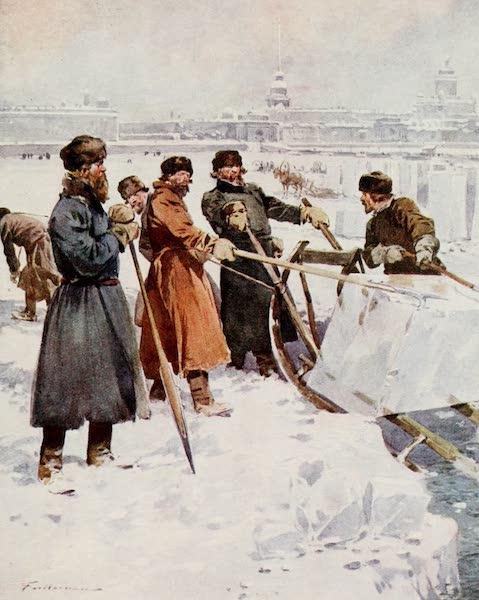 Russia, Painted and Described - Ice-Cutting on the Neva (1913)