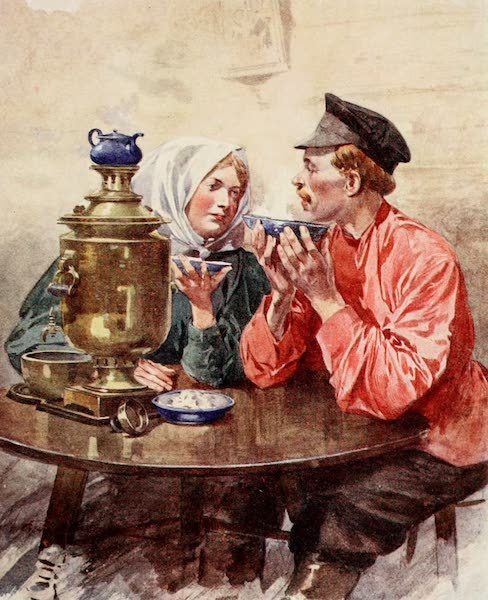 Russia, Painted and Described - A Dish of Tea from a Samovar (1913)