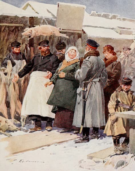 Russia, Painted and Described - The Frozen-Meat Market, St. Petersburg (1913)