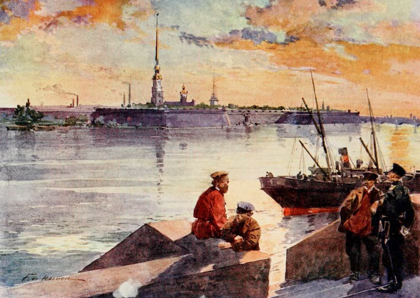 Russia, Painted and Described - The Palace Quay of the Neva (1913)