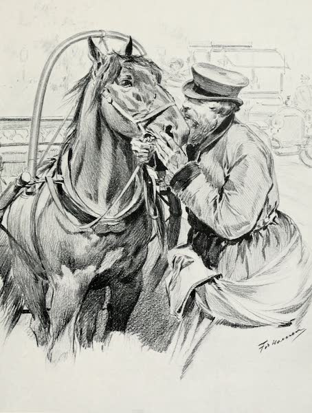 Russia, Painted and Described - A Droshky-Driver Kissing his Horse Good-morning (1913)