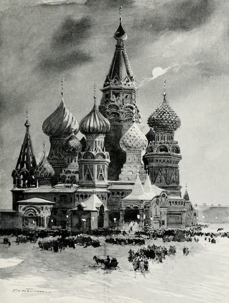 Russia, Painted and Described - The Church of St. Basil in the Place Rouge on Christmas Eve (1913)