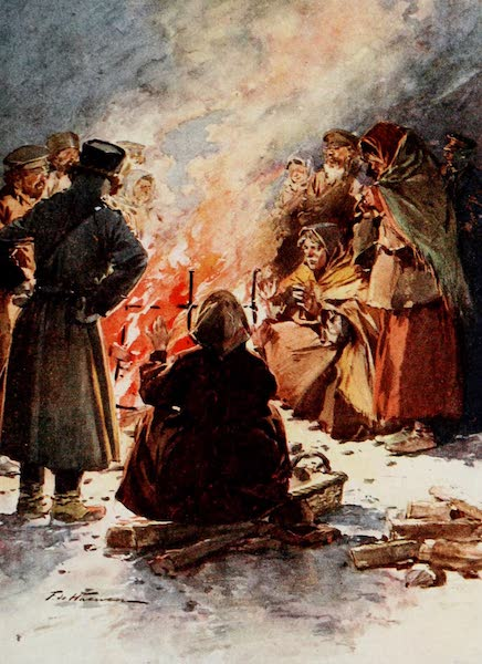 Russia, Painted and Described - The Poor of Moscow warming Themselves at Street Fires in Winter (1913)