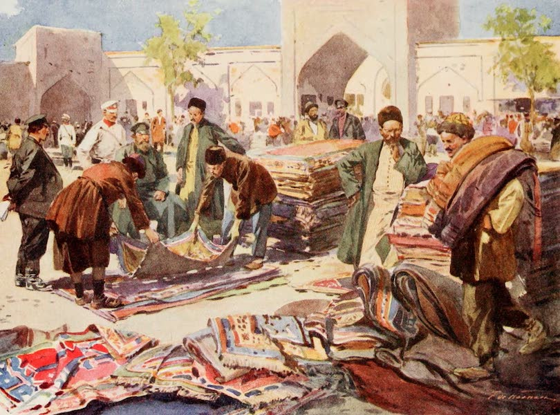 Russia, Painted and Described - A Carpet Fair at Astrakhan (1913)