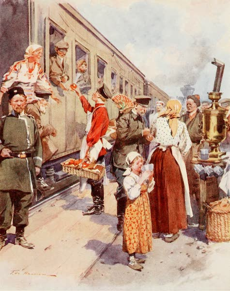 Russia, Painted and Described - Tea Sellers at a Country Railway Station (1913)