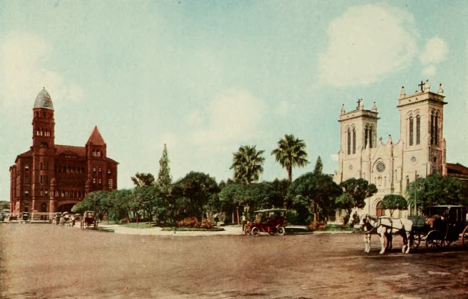 San Antonio, A Descriptive View Book in Colors - The San Fernando Cathedral and Bexar County Court House (1913)
