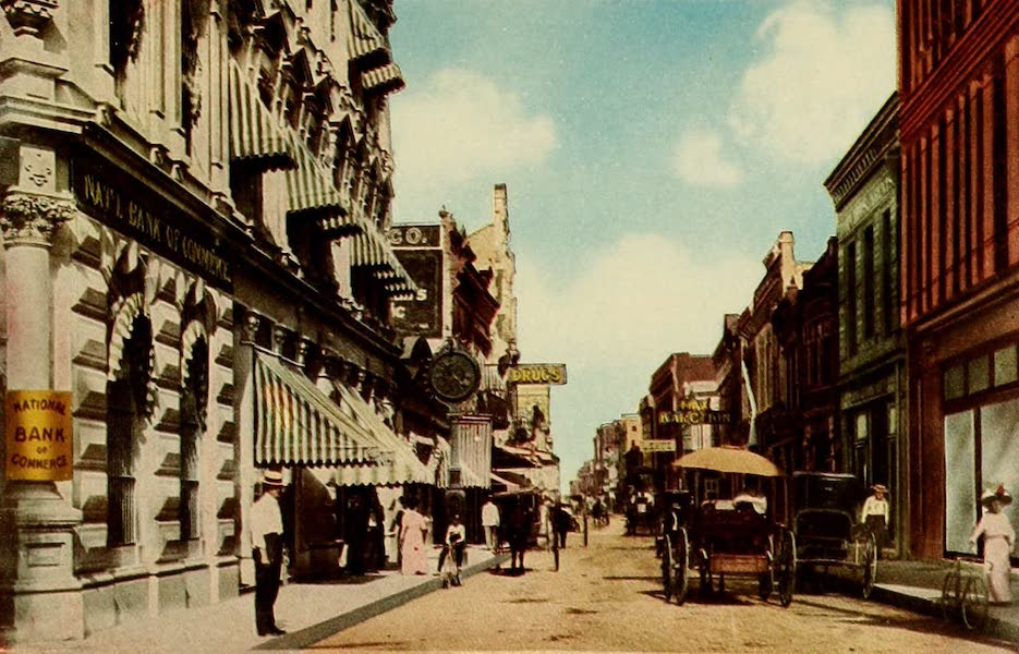 San Antonio, A Descriptive View Book in Colors - Commerce Street (1913)