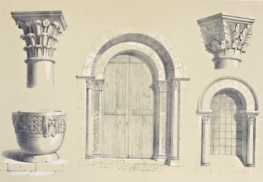 Saracenic and Norman Remains - 1. Capitals in the Cathedral of Messina. 2. Windows of the Cathedral. 3. One of the Doors of the Nunziatella. (1840)