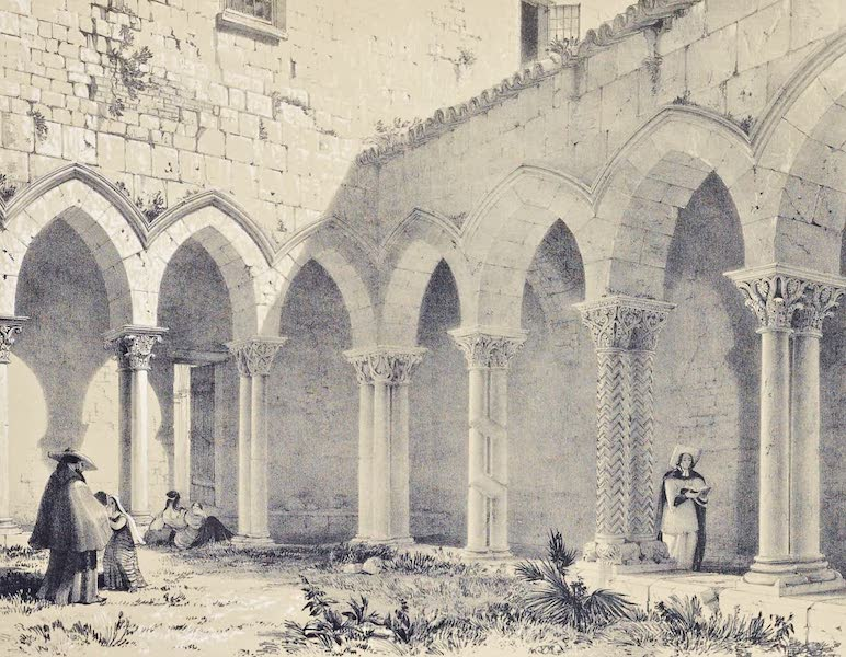 Saracenic and Norman Remains - The Cloister of the Cathedral of Cefalu. (1840)