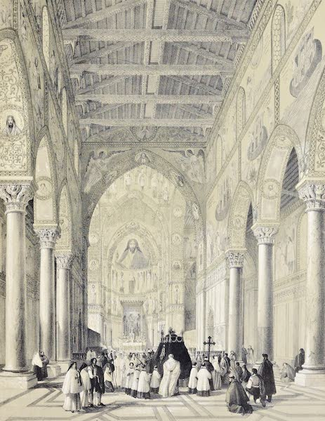 Saracenic and Norman Remains - Interior of the Cathedral of Monreale, Four Miles To the South of Palermo. (1840)
