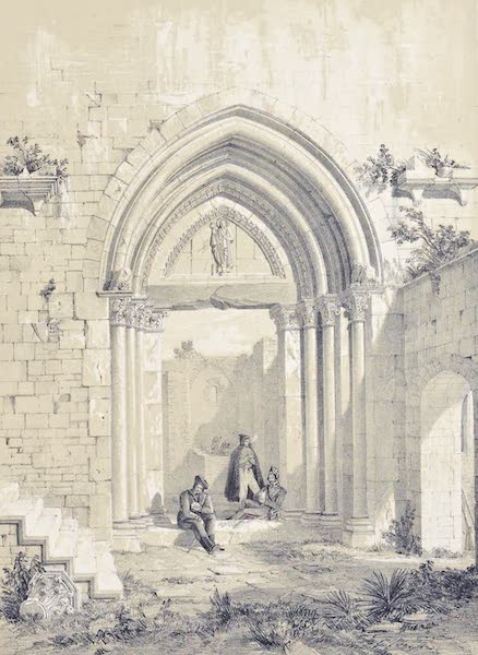 Saracenic and Norman Remains - Portal of the Great Hall in the Castle of Maniaces, At Syracuse. (1840)