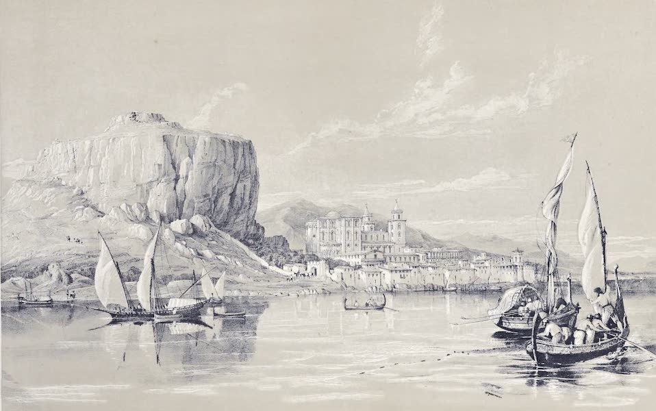 Saracenic and Norman Remains - General View of Cefalu. (1840)