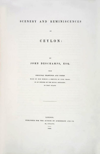 Scenery and Reminiscences of Ceylon - Title Page (1845)