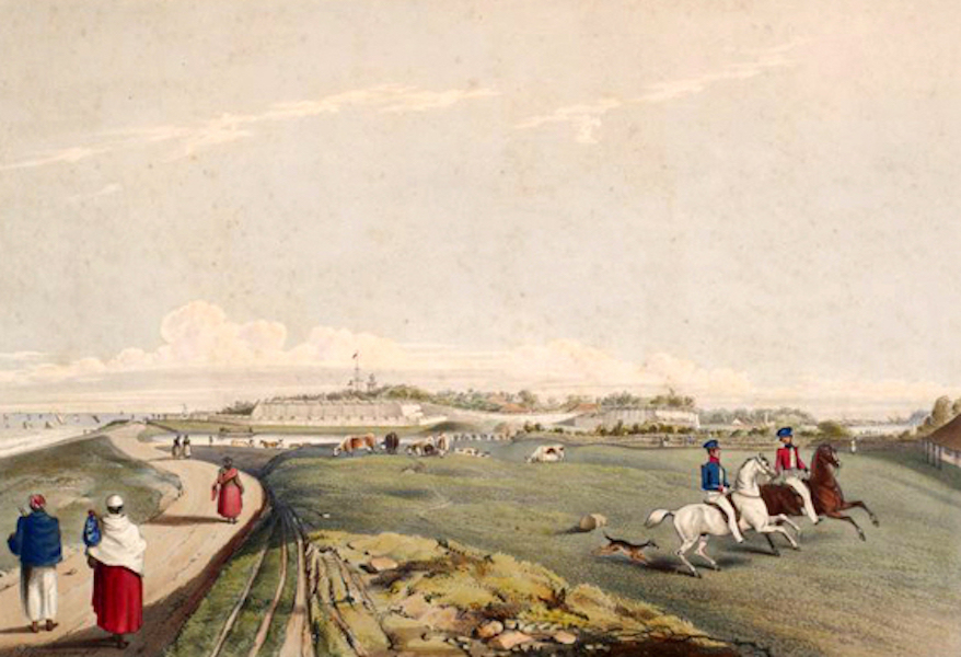 Scenery and Reminiscences of Ceylon - The Fort of Colombo, from the Galle-Face Esplanade (1845)
