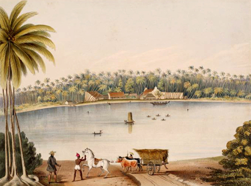 Scenery and Reminiscences of Ceylon - The Ferry & Rest-House, at Bentotte (1845)