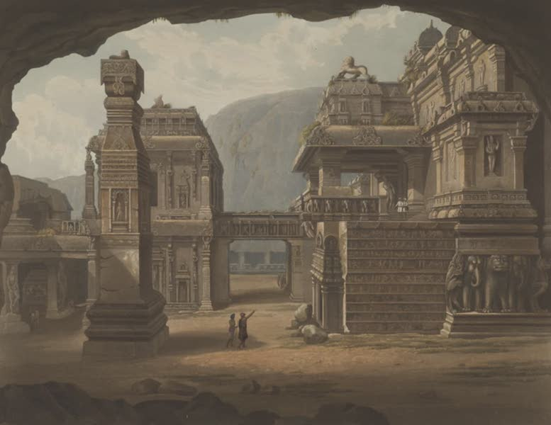 Scenery, Costumes and Architecture, Chiefly on the Western Side of India - Great excavated temple at Ellora, drawn in 1813 (1826)