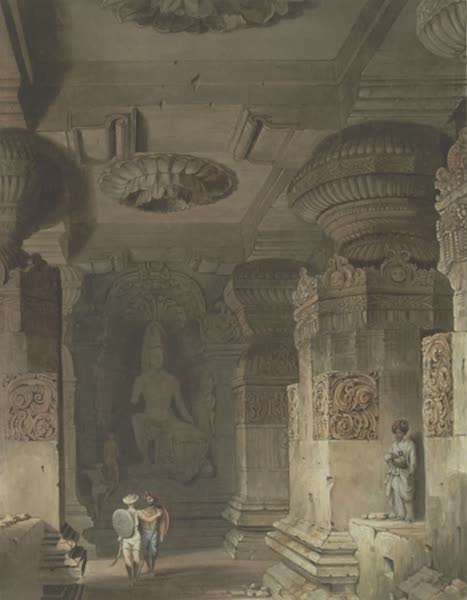 Scenery, Costumes and Architecture, Chiefly on the Western Side of India - Interior of the Cave Temple of Indra Sabha at Ellora (1826)