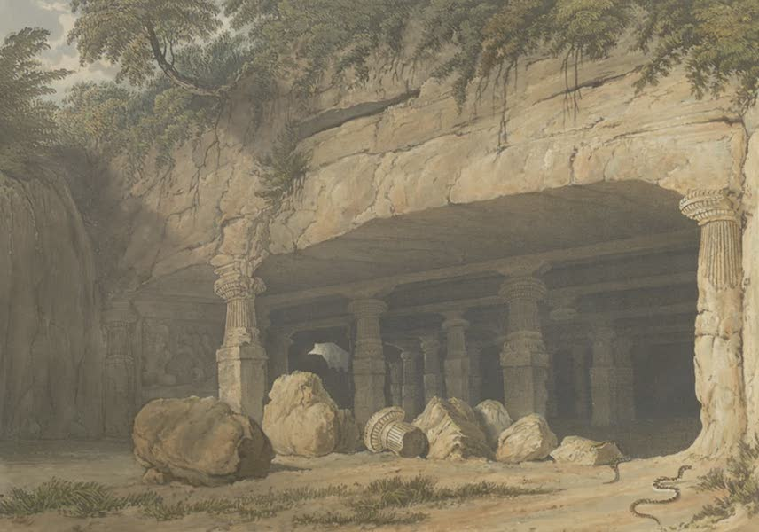 Scenery, Costumes and Architecture, Chiefly on the Western Side of India - Entrance of the great Cave Temple of Elephanta, near Bombay, drawn in 1803 (1826)