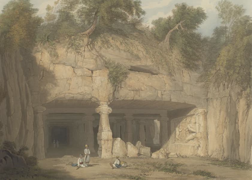 Scenery, Costumes and Architecture, Chiefly on the Western Side of India - Exterior of the great Cave Temple of Elephanta, near Bombay, drawn in 1803 (1826)