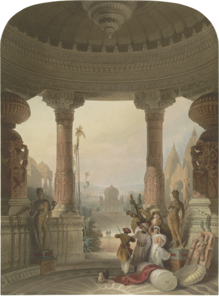 Scenery, Costumes and Architecture, Chiefly on the Western Side of India - Portico of a Hindoo Temple, with other Hindoo and Mohamedan Buildings (1826)