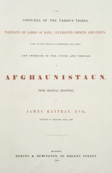 Scenery, Inhabitants, & Costumes, of Afghaunistan - Title Page (1848)
