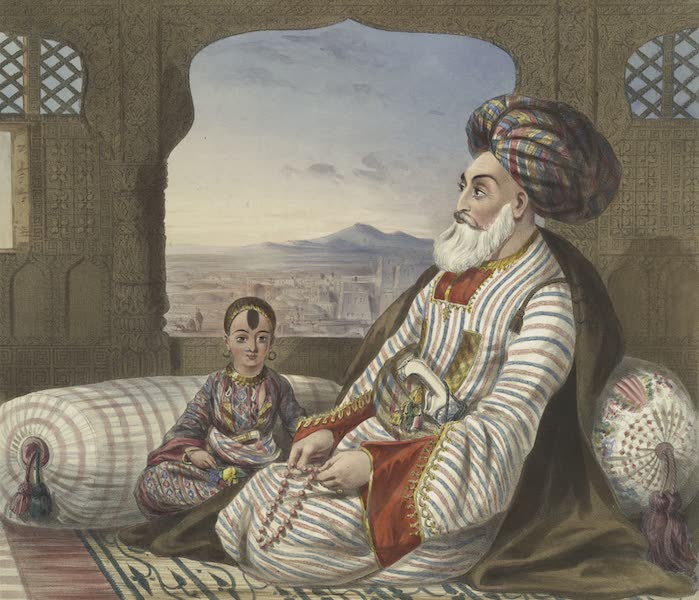 Scenery, Inhabitants, & Costumes, of Afghaunistan - Dost Mahommed King of Caubul and his youngest son (1848)