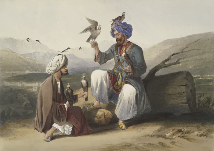 Scenery, Inhabitants, & Costumes, of Afghaunistan - Hawkers of the Ko-i-staun. With the valley of Caubul and mountains of Hindoocoosh (1848)