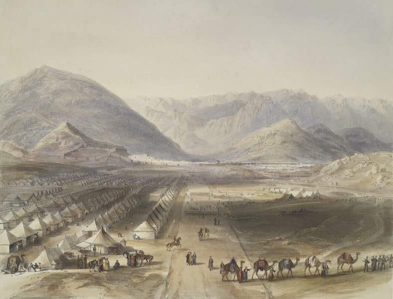 Scenery, Inhabitants, & Costumes, of Afghaunistan - Encampment of the Kandahar army, under General Nott, outside the walls of Caubul, on the evacuation of Afghaunistaun by the British (1848)