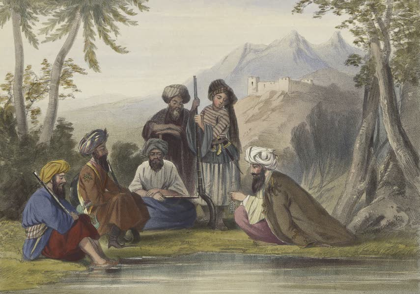 Scenery, Inhabitants, & Costumes, of Afghaunistan - Khoja Padshauh, a Ko-i-staun chief, with his armed retainers (1848)