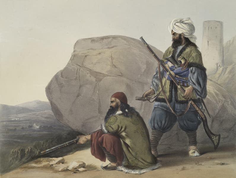 Scenery, Inhabitants, & Costumes, of Afghaunistan - Afghaun foot soldiers in their winter dress (1848)