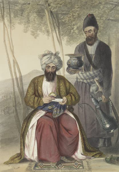 Scenery, Inhabitants, & Costumes, of Afghaunistan - Mahomed Naib Shurreef, a celebrated Kuzzilbach chief of Caubul, and his peshkhidmut, or head attendant (1848)
