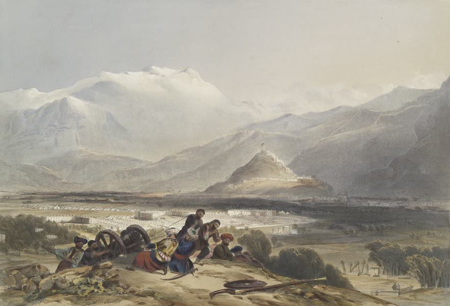 Scenery, Inhabitants, & Costumes, of Afghaunistan - Bala Hissar and city of Kabul, with the British cantonments from the