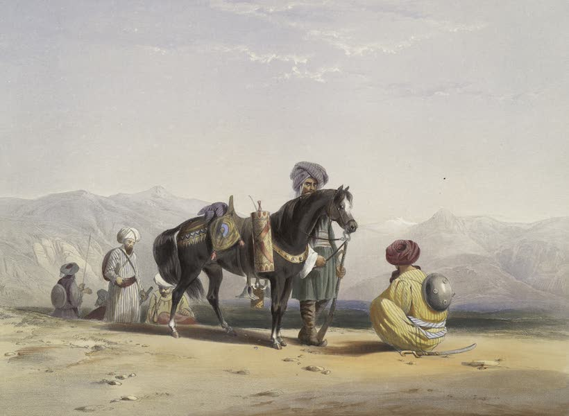 Scenery, Inhabitants, & Costumes, of Afghaunistan - Jaunbauz, or Afghaun cavalry, with horse bearing implements for smoking &c. (1848)