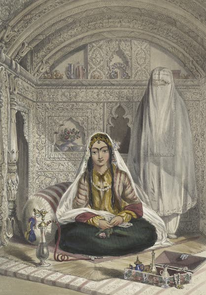 Scenery, Inhabitants, & Costumes, of Afghaunistan - Ladies of Caubul in their in and out-of-door costume (1848)