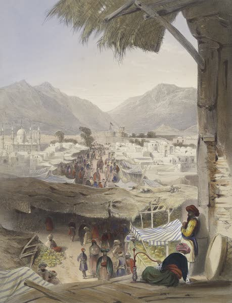 Scenery, Inhabitants, & Costumes, of Afghaunistan - City of Kandahar, its principle bazaar and citadel, taken from the nakarra khauneh, or royal band room (1848)