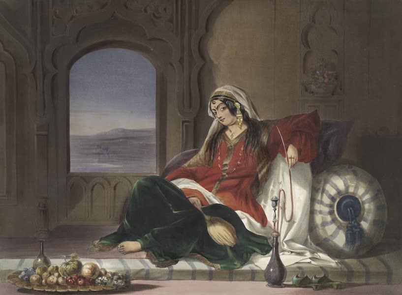 Scenery, Inhabitants, & Costumes, of Afghaunistan - Kandahar lady of rank, engaged in smoking (1848)