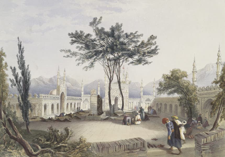 Scenery, Inhabitants, & Costumes, of Afghaunistan - Mosque of Goolaum Hoossein Huzrut-jee, a great prophet of the Afghauns, and the tombs of the kings at Kandahar (1848)