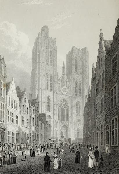 Scenery of the Rhine, Belgium and Holland - St. Gudula, Brussels (1826)