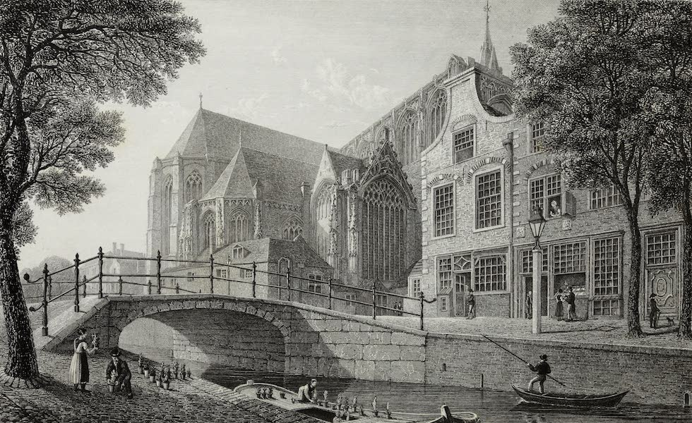 Scenery of the Rhine, Belgium and Holland - Oude Kerk, Delft (1826)