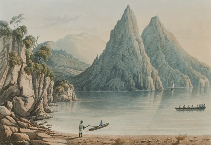 Scenery of the Windward and Leeward Islands - The Pitons or Sugar-loaves, St. Lucia. [Engraved by C. Hunt] (1837)