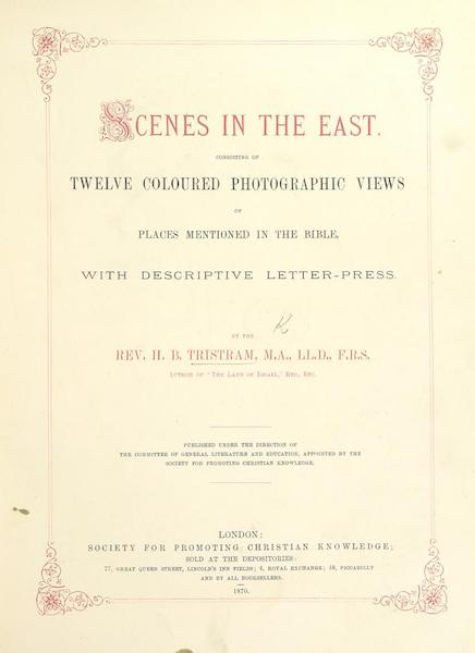 Scenes in the East - Title Page (1870)