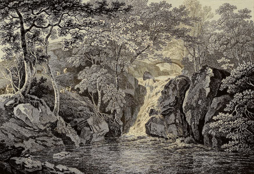 Select Views in Great Britain - View of a Water-Fall at Rydal (1813)