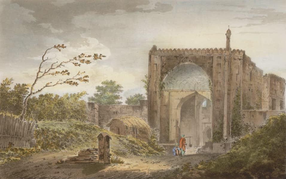 Select Views in India - A View of the Gate of the Caravan Serai, at Raje Mahel (1797)