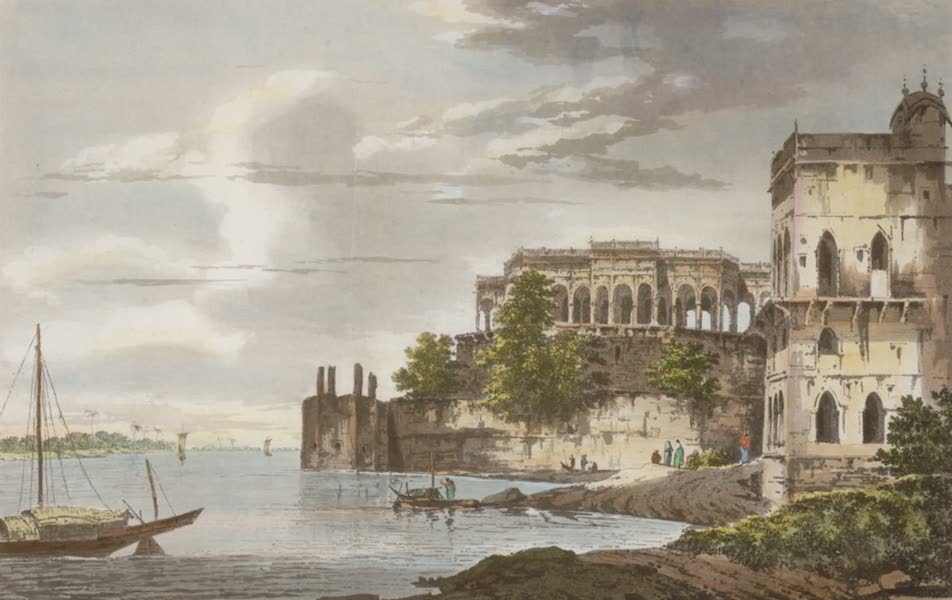 Select Views in India - A View of the Ruins of a Palace at Gazipoor on the River Ganges (1797)