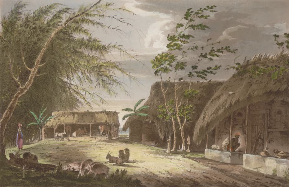 Select Views in India - A View of a Farm-Yard in the Kingdom of Benga (1797)
