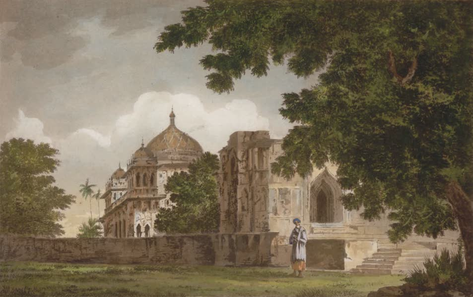 Select Views in India - A View of the Mosque, at Mounheer, from the S.E. (1797)
